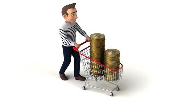 Fun 3D cartoon cartoon man shopping with bitcoins