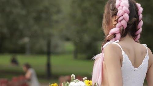 Medium Close-up Beautiful Hipster Romantic Charming Woman Turning Around Looking at Camera