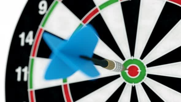 Cover Image for Slow Motion Close-up of Dart Arrow Hitting Bullseye of the Target