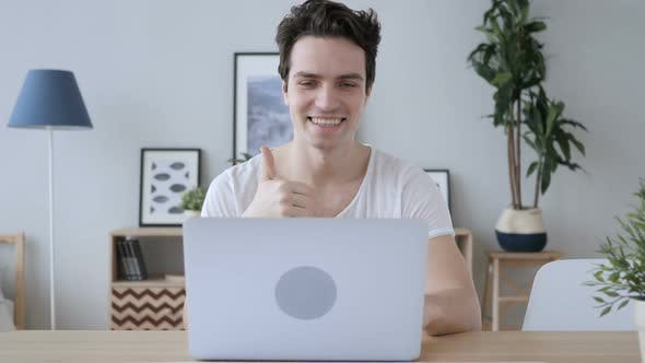 Thumbnail for Man Busy in Online Video Chat on Laptop at Work