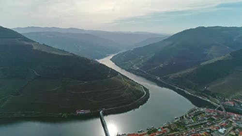 Aerial of Douro Terraced Vineyards in Portugal