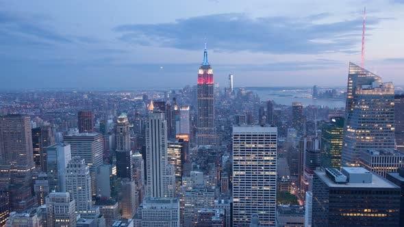 Thumbnail for 4 K Aerial Sunset Timelaspe of Manhattan Skyline - New York - Usa