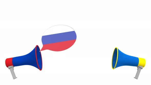 Thumbnail for Flags of Ukraine and Russia on Speech Balloons
