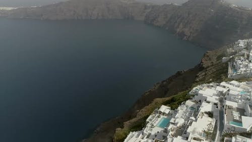 Aerial view of traditional houses on Santorini island, Imerovigli, Greece.