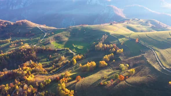 Cover Image for Flying Above Autumn Forest and Hills.Transylvania, Romania