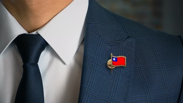 Thumbnail for Businessman Walking Towards Camera With Country Flag Pin Taiwan