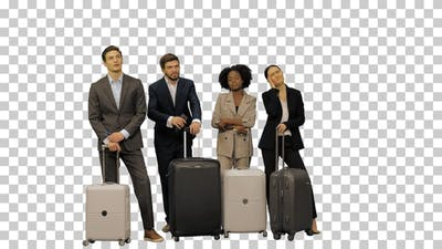 A group of business people with suitcases, Alpha Channel