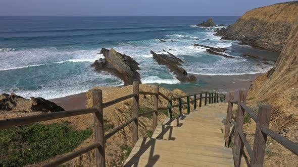 Cover Image for Stairs To Beach on Algarve Coast in Portugal