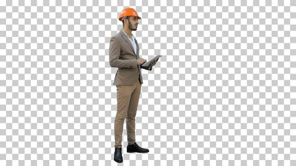 Thumbnail for Engineer in helmet carrying out inspection, Alpha Channel