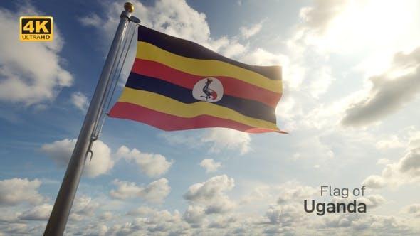 Uganda Flag on a Flagpole - 4K