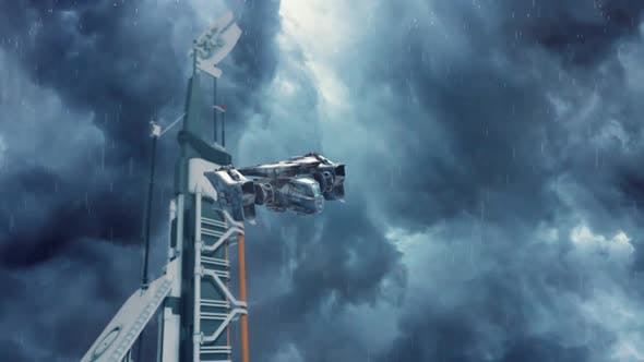 Thumbnail for Sci-Fi Dropship Coming in to Land at a Futuristic Outpost During a Storm