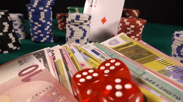 Thumbnail for Gambling Money Chips Poker Cards And Red Dices