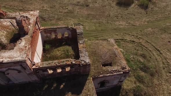 """abandoned lonely church in the field, Aerial, Abandoned village """"Svoboda"""" 09"""