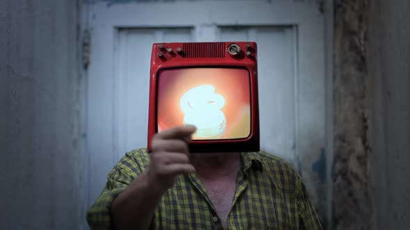 Thumbnail for Retro TV with Light Bulb on the Head of a Man.