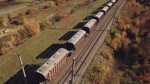 Thumbnail for Freight Train with Wagons is Passing by Rail