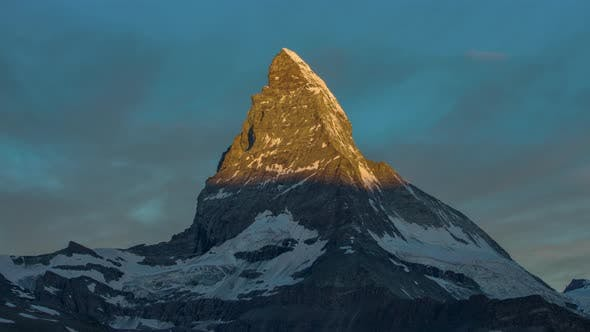 Thumbnail for matterhorn alps switzerland mountains snow peaks ski timelapse sunrise dawn