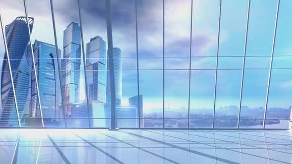 Panorama Of A Large Office With Skyscrapers On The Background 4K