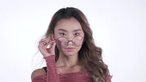 Attractive Asian Woman Wearing Sexy Glasses