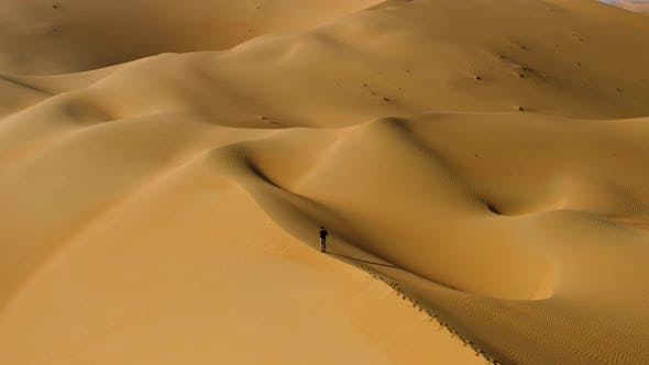 Aerial view of a man standing on the edge of dunes, U.A.E.