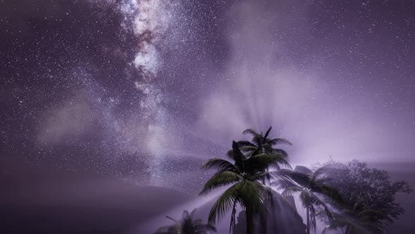 Thumbnail for Milky Way Galaxy Over Tropical Rainforest.