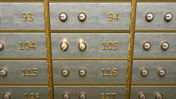 Cover Image for Safety Deposit Box with Gold Bars Inside Opened By Two Golden Keys