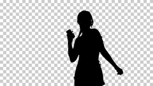 Silhouette  Positivegirl listening , Alpha Channel