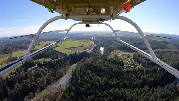 Flying In Helicopter Above Stillaguamish River Arlington Washington Camera Mounted Reverse Angle