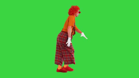 Thumbnail for Happy Clown Walking in a Funny Way on a Green Screen Chroma Key