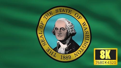 8K Washington State Flag Background
