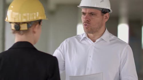 Team Builder Have Problem and Angry at Construction Site Building