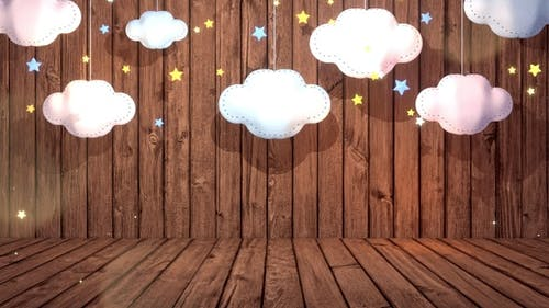 Clouds Paper Craft And Wooden Wall