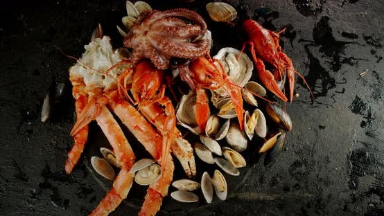 Thumbnail for Different Types of Seafood Rotate Slowly