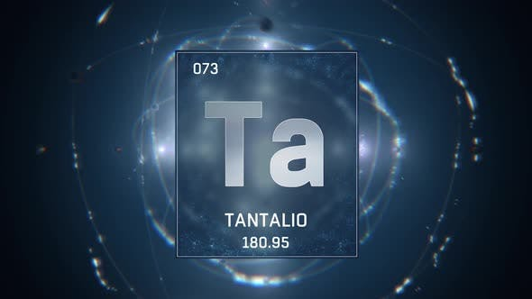 Thumbnail for Tantalum as Element 73 of the Periodic Table on Blue Background in Spanish Language