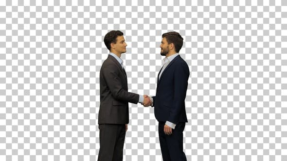 Two young men in suits greet each other, Alpha Channel