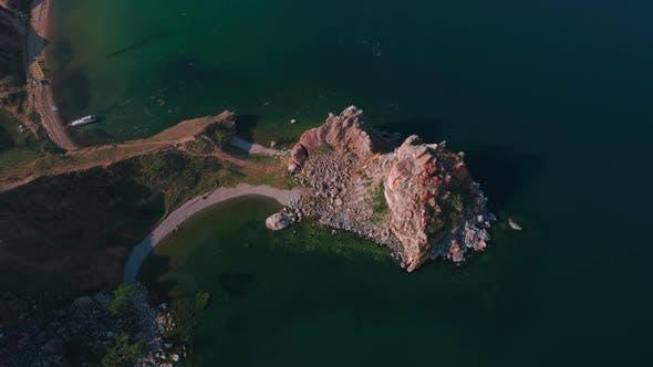 Thumbnail for Aerial Drone Footage. Summer. Lake Baikal. Olkhon Island. Rocks in the Siberia. Cape Burkhan