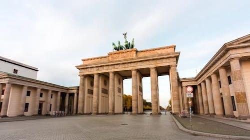 Night to day hyper lapse of the Brandenburg gate in Berlin Germany