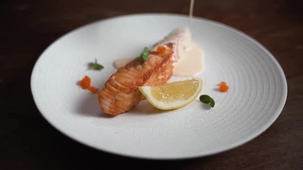 Salmon steak with flying fish roe sauce