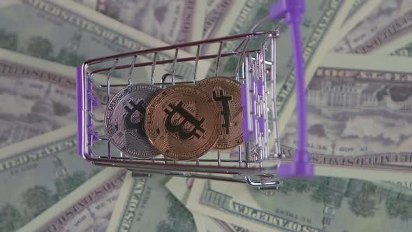 Money Cart and Money Coins Are Spinning Into It