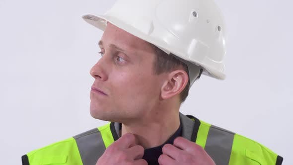 Cover Image for Portrait of Self Confident Handsome Man in Construction Cloth and Hat