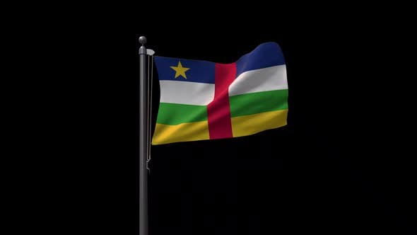 Central African Republic Flag On Flagpole With Alpha Channel