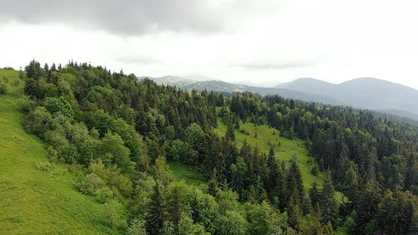 Aerial Drone View: Fabulous View of the Carpathian Mountains in Ukraine, The Mountain Tops