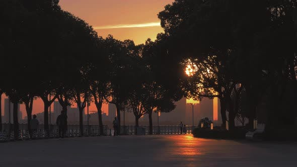Thumbnail for Silhouettes of People Walking Along the Park at Sunset and Riverside Background.