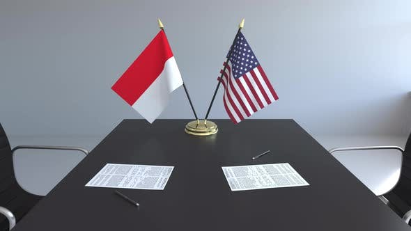 Flags of Indonesia and the United States and Papers