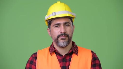 Handsome Persian Bearded Man Construction Worker Smiling