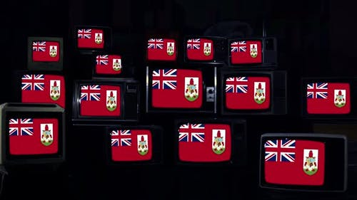 Bermuda Flags and Retro TVs.