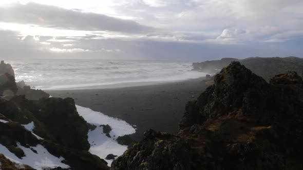Thumbnail for Iceland View Of Black Sand Beach And Rough Ocean Waves At Djupalonssandur 4