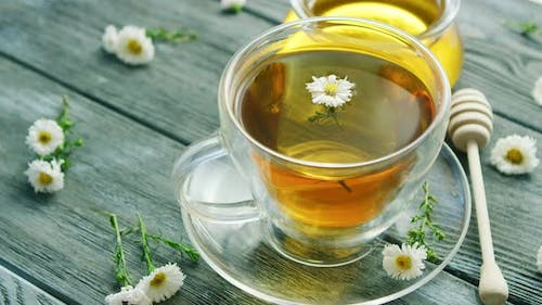 of Cup with Camomile Tea
