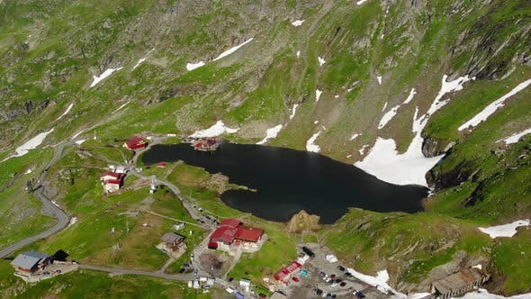 Aerial View Lake Balea on Transfagaras Pass in Carpathian Mountains Romania