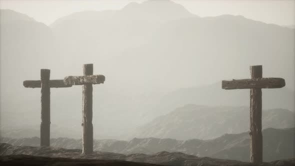 Thumbnail for Wooden Crucifix Cross at Mountain