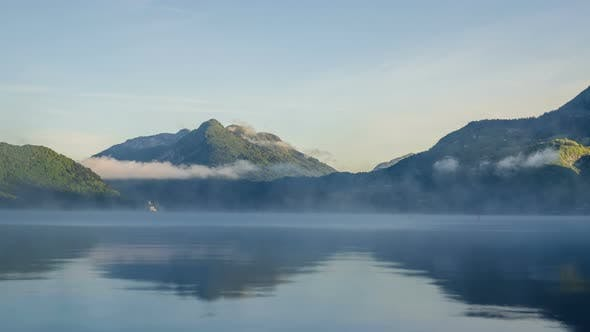 Thumbnail for Foggy Morning over Mountain Lake